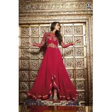 6208 RED GLOSSY READYMADE MALAIKA ARORA KHAN WEDDING WEAR GEORGETTE SUIT (SMALL)