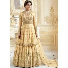 GOLDEN CREAM INDIAN & PAKISTANI DESIGNER PARTY AND WEDDING WEAR FANCY ANARKALI GOWN