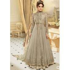 BEAUTEOUS GREY INDIAN & PAKISTANI DESIGNER PARTY AND WEDDING WEAR FANCY ANARKALI GOWN