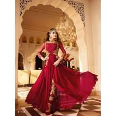 7101 MAROON GLOSSY DESIGNER GEORGETTE DRESS