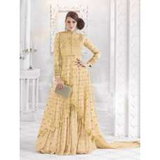 7210-D YELLOW GLOSSY SAPPHIRE WEDDING WEAR DESIGNER DRESS