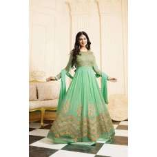 17006 LIGHT GREEN GLOSSY SIMAR HEAVY EMBROIDERED ANARKALI STYLE GOWN