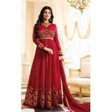 17004 RED GLOSSY SIMAR HEAVY EMBROIDERED ANARKALI STYLE GOWN