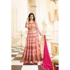17005 PEACHY PINK GLOSSY SIMAR HEAVY EMBROIDERED ANARKALI STYLE GOWN
