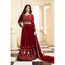 17001-C RED GLOSSY SIMAR HEAVY EMBROIDERED ANARKALI STYLE GOWN