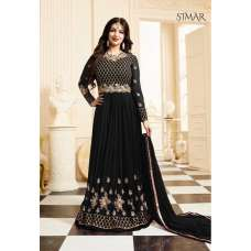 17001-D BLACK GLOSSY SIMAR HEAVY EMBROIDERED ANARKALI STYLE GOWN