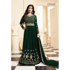17001-B GREEN GLOSSY SIMAR HEAVY EMBROIDERED ANARKALI STYLE GOWN