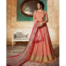 Peach Indian Long Party & Mehndi Wear Gown