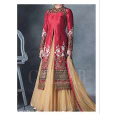 G1203 RED AND BEIGE HIRA GULZAR ANARKALI SUIT
