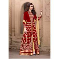 AN1507-D RED ANAYA SEMI STITCHED ANARKALI SUIT