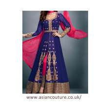 STUNNING BLUE SHEONA WEDDING WEAR ANARKALI DRESS