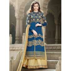 1503 BLUE AND CREAM GULZAR BANGLORI SILK ANARKALI STYLE LEHENGA