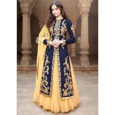 MA1506-B NAVY BLUE MAYA SEMI STITCHED ANARKALI LEHENGA SUIT