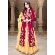 MA1506-A RED MAYA SEMI STITCHED ANARKALI LEHENGA SUIT