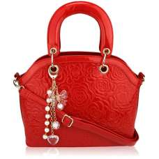 LS00134 - Red Flower Fashion Tote Bag With Charm