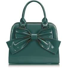 LS005- Teal Patent Bow Tote Bag