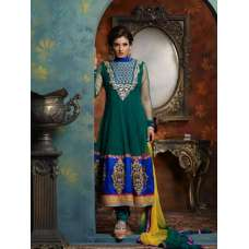 5006 DARK GREEN RAVEENA TANDON NET SUIT WITH DUPPATTA AND BOTTOM