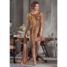 HR5119-A BROWN HEROINE PRIYANKA CHOPRA STRAIGHT CUT DRESS