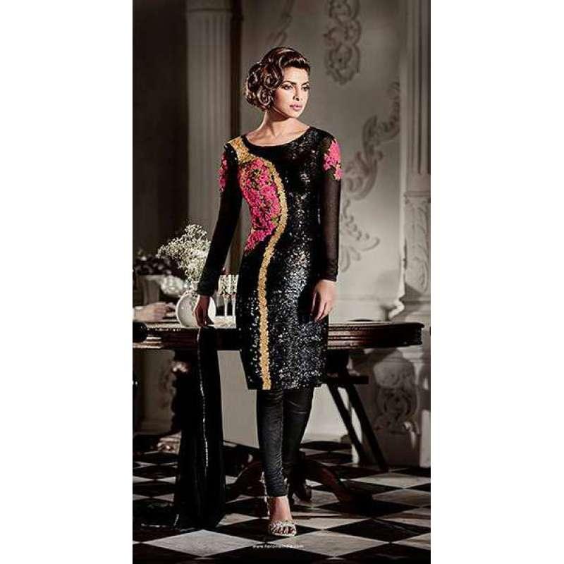 AHR5119 BLACK COLOUR HEROINE PRIYANKA CHOPRA STYLISH DRESS
