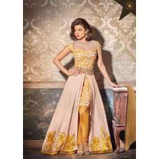 5130 BEIGE AND YELLOW HEROINE PRIYANKA CHOPRA A-LINE SUIT WITH SKIRT