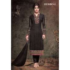 5137 BLACK HEROINE STARLET GEORGETTE STRAIGHT CUT STYLE SEMI STITCHED SUIT