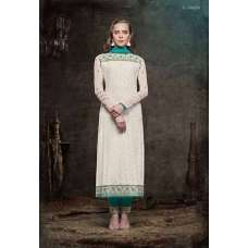 5136 OFF WHITE HEROINE STARLET GEORGETTE STRAIGHT CUT STYLE SUIT