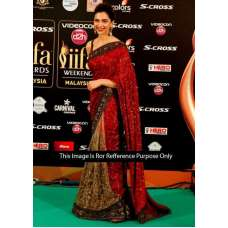 Deepika Padukone Bollywood Stylish Red IIfa Georgette Saree