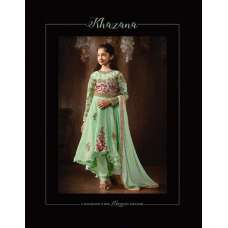 8077 GREEN PARTY WEAR SILK ANARKALI SUIT FOR GIRLS