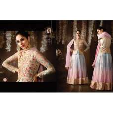 8076 BLUE AND PINK KARMA NET FABRIC HEAVY EMBROIDERED SHADED PARTY WEAR ANARKALI SUIT