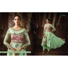 8077 GREEN KARMA EMBROIDERED PARTY WEAR SILK FABRIC ANARKALI SUIT