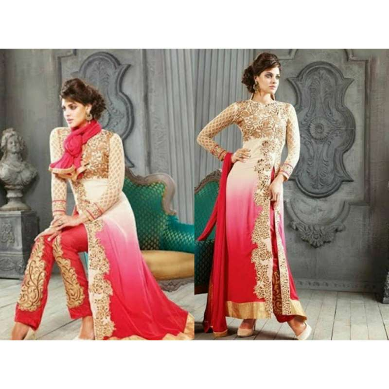 5001-A WHITE AND RED KESARI ARYAA GEORGETTE PARTY WEAR SUIT NEXT DAY  DELIVERY AVAILABLE