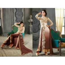 5001-D WHITE AND BROWN KESARI ARYAA GEORGETTE PARTY WEAR SUIT