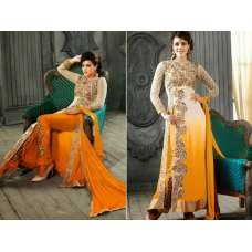 5001-E WHITE AND YELLOW KESARI ARYAA GEORGETTE PARTY WEAR SUIT