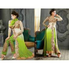 5001-F WHITE AND LIME KESARI ARYAA GEORGETTE PARTY WEAR SUIT
