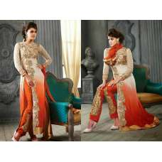 5001-H WHITE AND ORANGE KESARI ARYAA GEORGETTE PARTY WEAR SUIT