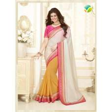 KH16355 Pink With White, Yellow  Kasheesh Sheesha Designer Saree