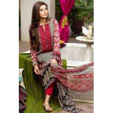 Rust Brown Khaadi Embroided Shirt with Shalwar & Dupatta