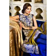 Blue Khaddi Embrodried Suit With Pashmina Dupatta
