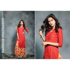 2009 ORANGE KAIRA STRAIGHT COTTON READY MADE KURTI