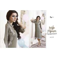 302 GREY LT NITIA READY MADE GEORGETTE EMBROIDERED KURTI