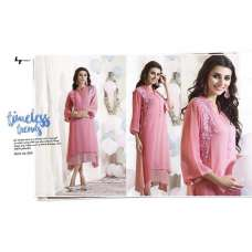 309 PINK LT NITIA READY MADE GEORGETTE EMBROIDERED KURTI