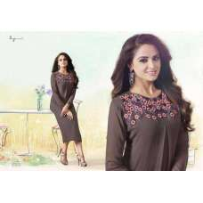 1004 GREY BROWN LT NITIA READY MADE GEORGETTE EMBROIDERED KURTI (LARGE SIZE)