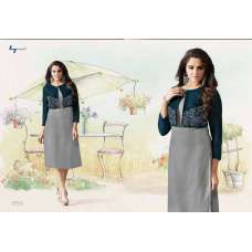 1006 GREY LT NITIA READY MADE GEORGETTE EMBROIDERED KURTI (LARGE SIZE)