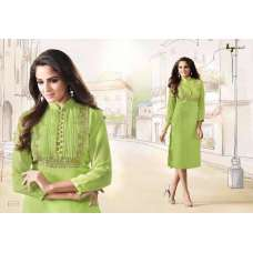 1007 GREEN LT NITIA READY MADE GEORGETTE EMBROIDERED KURTI (LARGE SIZE)