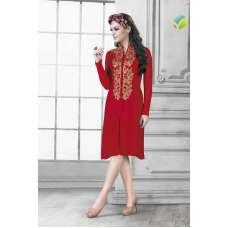 RED READYMADE GEORGETTE KURTI