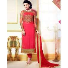 L19007 PINK LAVINA HEAVY EMBRIODERD DESIGNER DRESS