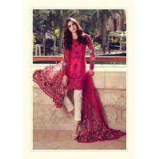 DARK PINK MARIA B LAWN EMBROIDERED AND PRINTED PAKISTANI STYLE READY MADE SUIT