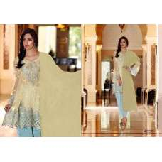 4035 BEIGE AND BLUE MARIA B STYLE PAKISTANI SALWAR KAMEEZ SUIT