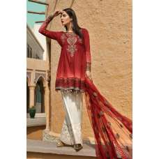 Buy Now Latest Red Maria B Voyage A' Luxe Spring Summer Lawn Suit In UK - 04B