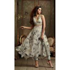 ZML2401 White And Grey Floral Lavish By Maisha Party Dress